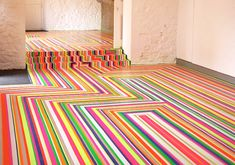 Since Glasgow-based artist Jim Lambie has used ordinary vinyl tape to transform spaces into visual wonders in his signature floor series Zobop. These labor intensive installations are meant to fill a space while still… Home Decor Inspiration, Color Inspiration, Jim Lambie, Floor Design, House Design, Palette, Beautiful Interior Design, Floor Colors, Floor Patterns