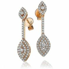 Beautiful diamond earrings at Lloyds. Diamond Marquise Shape Drop Earrings 0.80ct in Rose Gold.