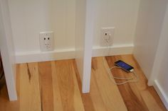 Built-in Mudroom Lockers - put an outlet in each cubicle that has a USB port to charge IPad, phone, etc. Great idea.