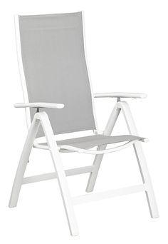 Merxx Gartenstuhl »Carrara«, (2er Set), Alu/Textil, Verstellbar, Weiß