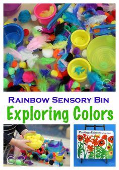 This spring rainbow sensory bin includes fine motor fun, color recognition, and lots of textures for toddlers and preschoolers to touch. Rainbow Activities, Sensory Activities Toddlers, Preschool Learning Activities, Sorting Activities, Color Activities, Sensory Bins, Toddler Preschool, Sensory Play, Sensory Table