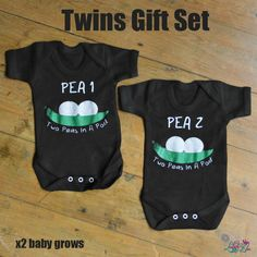 Two Peas In A Pod Twins Baby Grow Gift Set , buy this today from Lulah Blu Clothing number one for printed baby grows online. Funky baby grows newborn to 2 year old. Twin Babies, Twins, New Mummy, Baby Gift Sets, Newborn Baby Gifts, Second Baby, Baby Grows, Cotton Shorts, Two By Two