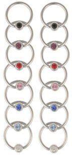 LOT 14 Jeweled Gem Captive Bead Rings CBR Nipple Brow Bold Steel. $6.99. 14 Gauge/1.63 mm. 14 pcs. Captive Bead Ring. Save 88%!
