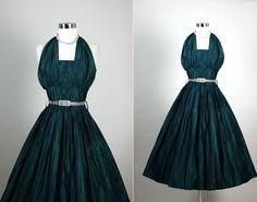 1950s 50s Vintage Dark Forest Green Iridescent by RedHouseVintages, $175.00