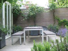 Notting Hill Garden by Jinny Blom; Small Gardens, Outdoor Gardens, Outdoor Rooms, Outdoor Living, Garden On A Hill, Garden Inspiration, Garden Ideas, Patio Ideas, Small Garden Design