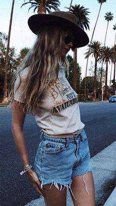 #Summer #Outfits / Beige T Shirt + Denim Short Shorts