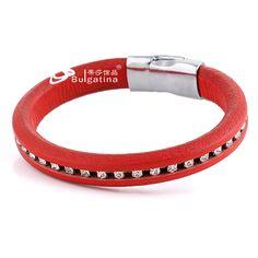 Cierre magnético de acero inoxidable de la manera pulseras de cuero para las mujeres con el rojo precio al por mayor nueva #abalorios #bisuteriafina #Bisuterias #collaresdebisuteria #bisuteriadamoda #bisuteriapulseras