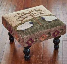 Willow Sheep Hooked Stool