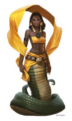 Fenthaza (pronounced: /fɛnˈθɑːzɑː/ was a yuan-ti malison nightmare speaker and high priest of a yuan-ti cult devoted to Dendar the Night Serpent. Dnd Characters, Fantasy Characters, Female Characters, Fantasy Races, Fantasy Rpg, Fantasy Inspiration, Character Inspiration, Character Portraits, Character Art