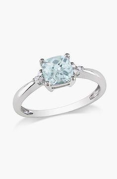 Aquamarine & Diamond Sparkle Ring