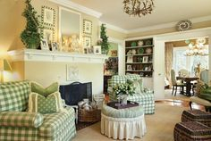 Love the green and white scheme with the beiges and browns. Good coordination between the rooms.