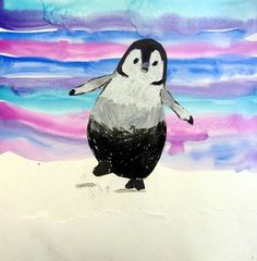 Happy oil pastel penguin drawing with watercolor wash background. 1st or 2nd grade elementary art lesson plan idea.
