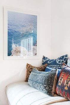 Gorgeous ocean print and love the mixed textiles here Amber Interiors - Client Cool as A Cucumber