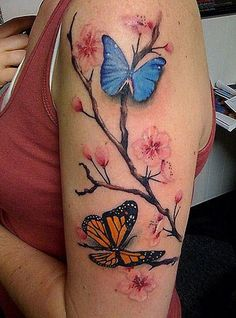 Cherry Blossom Tattoo with Butterflies.