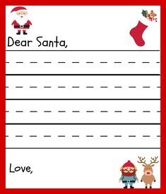 Free Printable Santa Letters for Kids. This Santa Letter Template will help your child write their letter to Santa and will be a keepsake for you. Free Printable Santa Letters, Free Letters From Santa, Santa Letter Template, Letter Templates Free, Place Card Template, Letters For Kids, Free Christmas Printables, Free Printables, Printable Tags