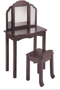 Guidecraft Expressions Vanity And Stool Espresso Kids Furniture Pretend Play  #Guidecraft
