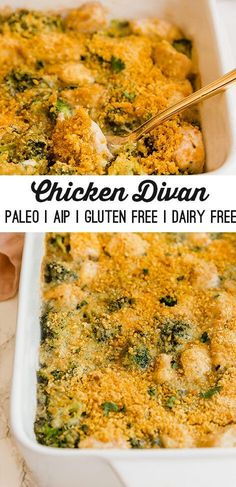 This chicken divan is a paleo version of a comfort food classic! It's dairy-free gluten-free and AIP compliant. This chicken divan is a paleo version of a comfort food classic! It's dairy-free gluten-free and AIP compliant. Dairy Free Recipes, Paleo Recipes, Paleo Food, Paleo Dessert, Paleo Bread, Paleo Kids, Paleo Pancakes, Paleo Pizza, Paleo Baking