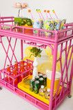 I love this - but not the $575 price! The Worth Rattan Bar Cart  So, I went to rose and bought a folding side table in the same style and going to spray paint it pink. Total cost will be under $30!