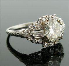 1930s Diamond Ring - Platinum and Diamond Ring. via Etsy.