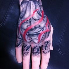 Script and Hannya Mask, done on A Pound Of Flesh hand
