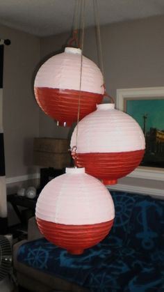 Fishing Bobbers-dollar store paper lanterns painted half white for nautical baby shower Camping Parties, Camping Lunches, Camping Hacks, Camping Themed Party, Diy Camping, Summer Parties, Nautical Party, Nautical Theme Baby Shower, Nautical Baby Shower Decorations