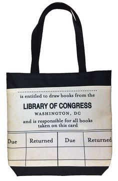 Who would ever think of turning a library due date card into a tote? Who cares! Its too cool.