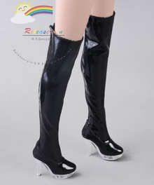 """Clear Heel Shoes Stretch Thigh Boots Patent Black for 22"""" Tonner American Model Doll"""
