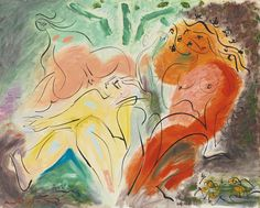 Andre Masson - Baigneuses Effrayees, 1966, oil on canvas