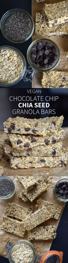 Chocolate Chip Chia Seed Granola Bars - Easy to make with just a few ingredients, no baking required, keep in the fridge. Vegan Sweets, Healthy Sweets, Healthy Baking, Vegan Desserts, Healthy Snacks, Vegan Recipes, Snack Recipes, Cooking Recipes, Healthy No Bake