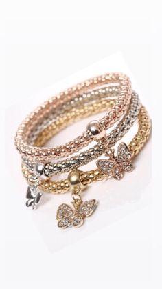 5pcs//Set Fashion Femme Acier Inoxydable 68 mm Gold Tone 3 mm charme bracelet jonc