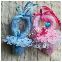 Baby Knitted Dummy Pram Charms or Keepsakes by NannyKathKnits