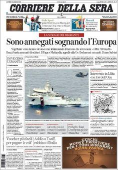 Une de Corriere della Sera (Italie) 20/04/2015