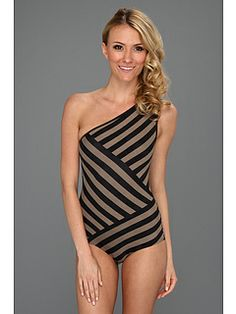 DKNY Chic Stripes Spliced One Shoulder Maillot w/ Removable Soft Cups