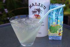 1 part Malibu Rum & 2 Parts Pineapple Coconut Water - light, refreshing summer drink