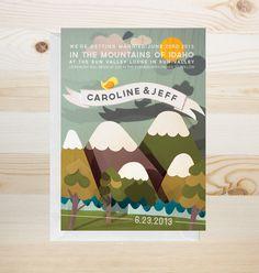 DIY printable - mountain wedding invitation via #Etsy