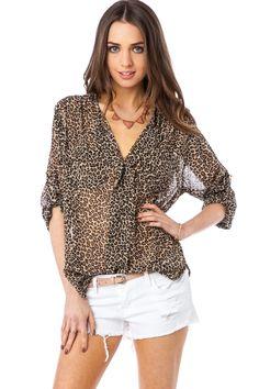 ShopSosie Style : Chiffon Alfie Blouse in Leopard