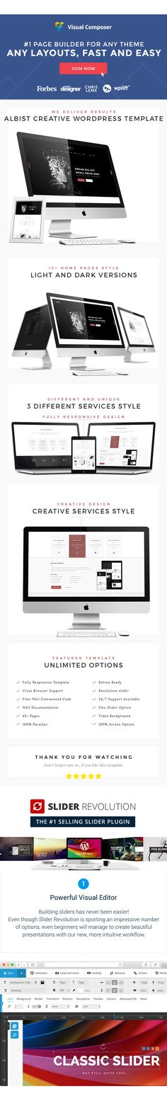 ALBIST  Creative Multipurpose WordPress Template (Creative)  ALBIST is a clean and minimal template modern suitable for digital agency studio portfolio designer etc. ALBIST designed is modern & unique also perfectly organized. We present you a modern and simple designwith unique elements ideal for an open-minded business. The Template is fully responsive will be an amazing choice!  Features  16 Home page style  Slider Revolution (Save upto $19)  Visual Composer (Save upto $34)  Compatible…