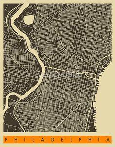 Philadelphia map art city print 18 x 24 2800 via etsy art philadelphia map by jazzberryblue freerunsca Gallery