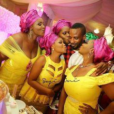 Combo of style: Yellow and fuschia pink.@sojioni #yellowandfuschia #asoebiinspiration #asoebiladies #like4like #wedding #sugarweddings