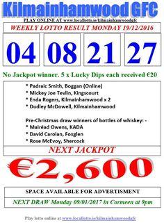 Kilmainhamwood GFC Lotto & News Next Jackpot Tickets www.ie/kilmainhamwoodgfc News 19, Jackpot Winners, Play Online, Whiskey Bottle