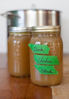 Gelatinous dark chicken stock made from roasted chicken carcass and veggies - great for making pan jus!