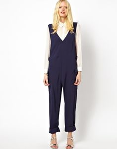 See by Chloe Worker Overalls in Fluid Twill