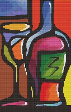 Service For One By Thomas Fedro  Modern Cross Stitch by GeckoRouge, $74.00