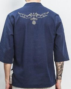 95afe721 V neck phoenix embroidered t shirt with side slits for big and tall men  three quarter sleeve