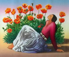 Woman with Poppies - RC Gorman