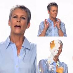 The talented #jamieleecurtis showing her comedic side by getting doused with water and getting a pie thrown right in her face in a commercial while wearing a smart crisp @brooksbrothers shirt 😂👅😆 #pieintheface #piedintheface #pieface #pieinface #pietotheface #piefight #dunked &nbs Jamie Lee Curtis, Crisp, Dinners, Commercial, Pie, Water, Shirt, Dinner Parties, Torte