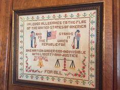 Patriotic Cross Stitch SAMPLER PLEDGE OF ALLEGIANCE Complete Framed Paragon 1959