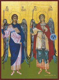 Archangels Gabriel and Michael icon - orthodoxmonasteryicons.com