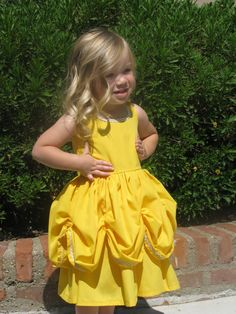 It looks like it would be comfortable if made from cotton fabric rather than the polyester that the store bought ones are made of. disney belle costume for girls Baby Belle Costume, Disney Belle Costume, Disney Princess Halloween Costumes, Disney Costumes, Disney Outfits, Girl Outfits, Disney Clothes, Little Girl Dresses, Girls Dresses