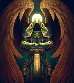 The Archangels oversee and guide Guardian Angels who are with us on earth. Angel Warrior, Fantasy Warrior, Dark Warrior, Dark Fantasy, Fantasy Art, Archangel Michael Tattoo, Knight Tattoo, Ange Demon, Templer
